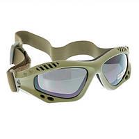 Очки десантные AIRPRO (Olive) дымчатые, фото 1