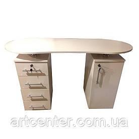 Маникюрный стол двухтумбовый, офисный стол с закругленной столешницей