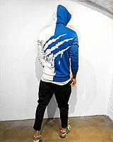 Мужская худи двух цветов с принтом , стильная толстовка худи белая