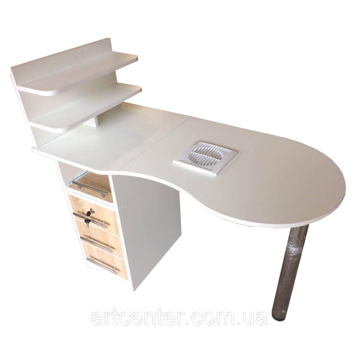 Маникюрный стол  с полочками для лаков и выдвижными ящиками, однотумбовый