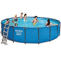 Каркасный бассейн Bestway 56462 - 1, 549 x 122 см (лестница, тент, подстилка) Без помпы