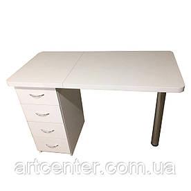 Маникюрный стол,офисный стол белый на хромированной ножке