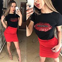 """Женский стильный костюм  """" Губы """"  ВЛМ05, фото 1"""