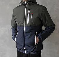 Мужская весенняя курточка Reebok (khaki/dark blue), мужская весенняя курточка Рибок, фото 1