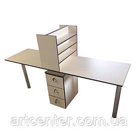 Стол маникюрный на два рабочих места с полочки для лаков и выдвижными ящиками в студию красоты