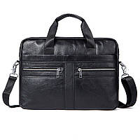Портфель сумка мужской деловой кожаный WESTAL (черный)