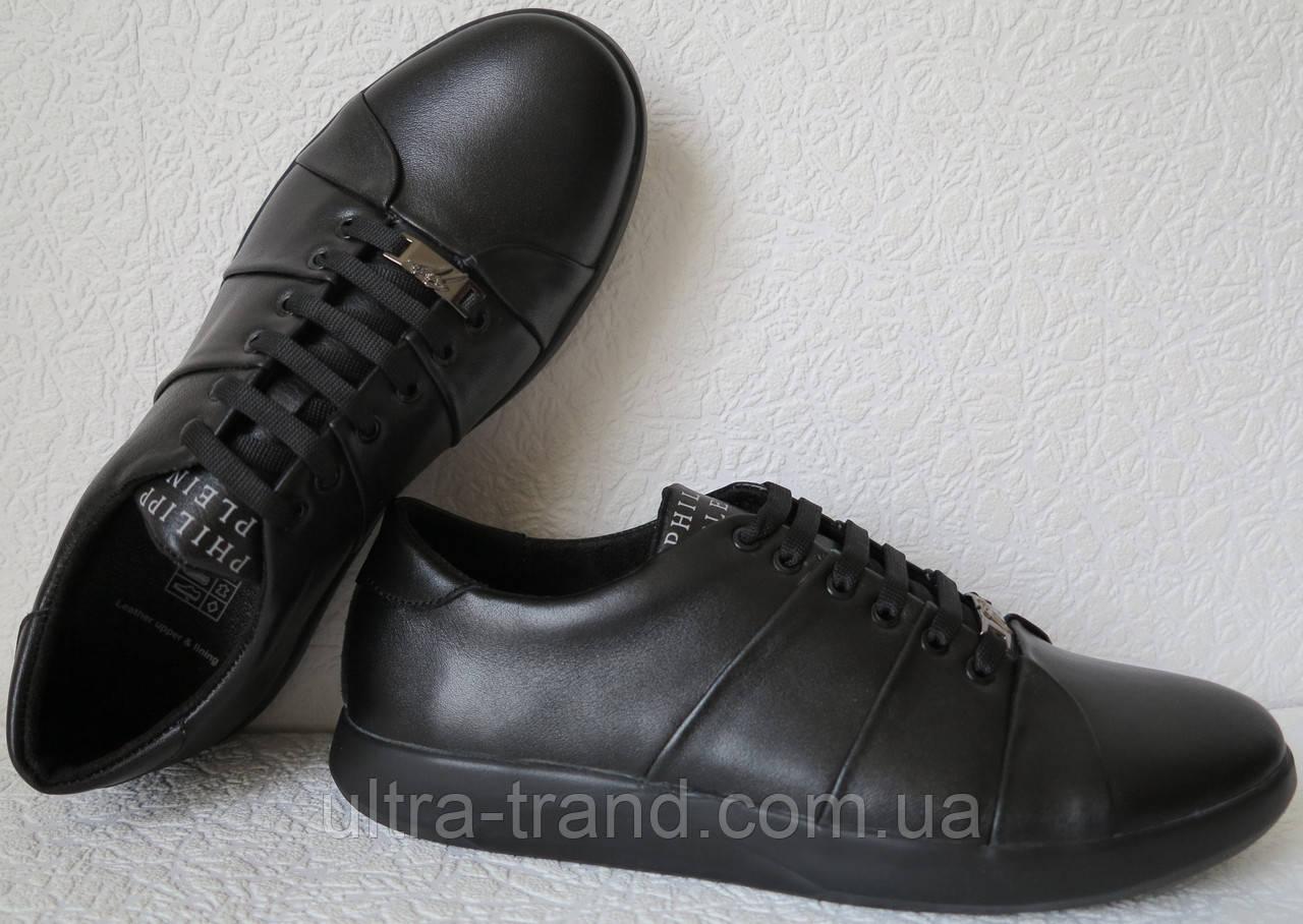 Philipp plein! Мужские туфли кроссовки из черной натуральной кожи.