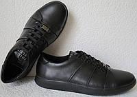 Philipp plein! Мужские туфли кроссовки из черной натуральной кожи., фото 1