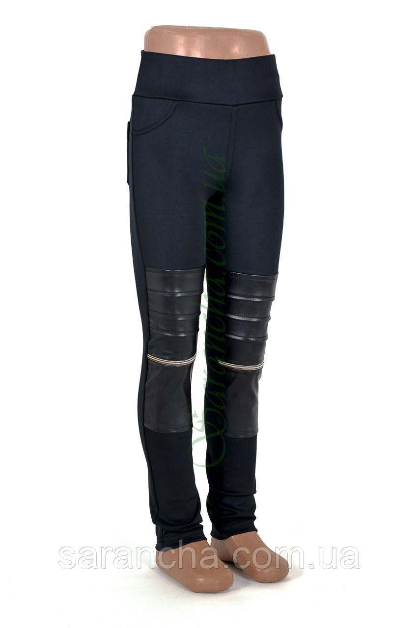 Лосины детские комбинированные, черный/м/дайвинг/эко-кожа перед, р.128-146