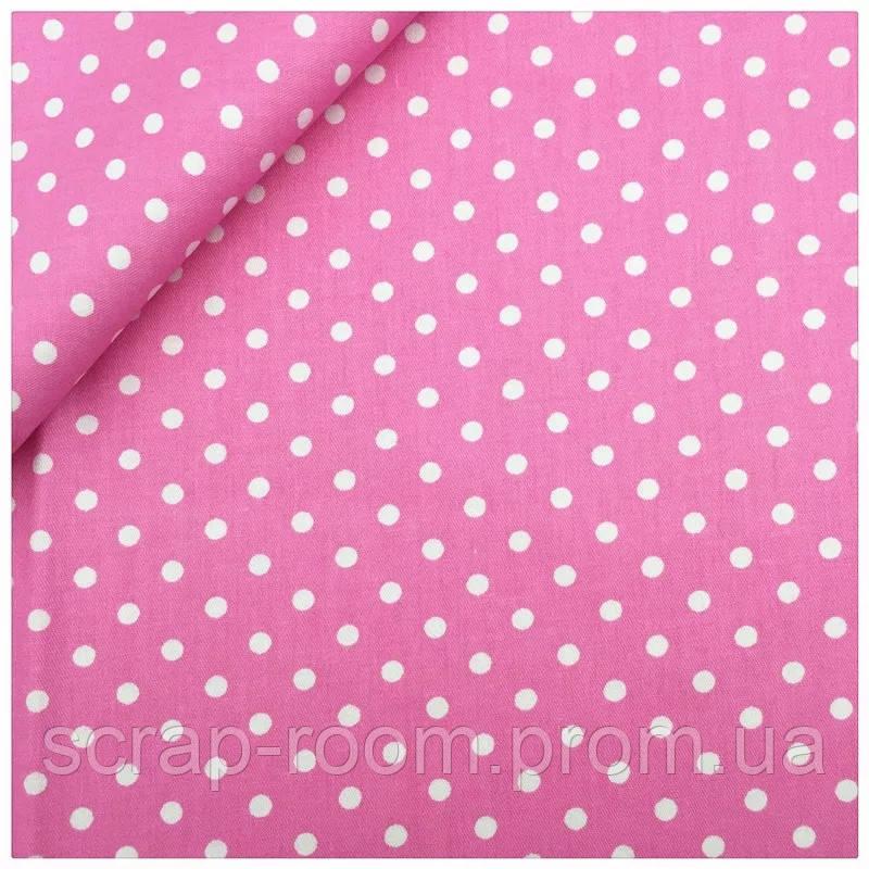 Ткань хлопок 100% розовая в белый горох Корея отрез 40 на 50 см