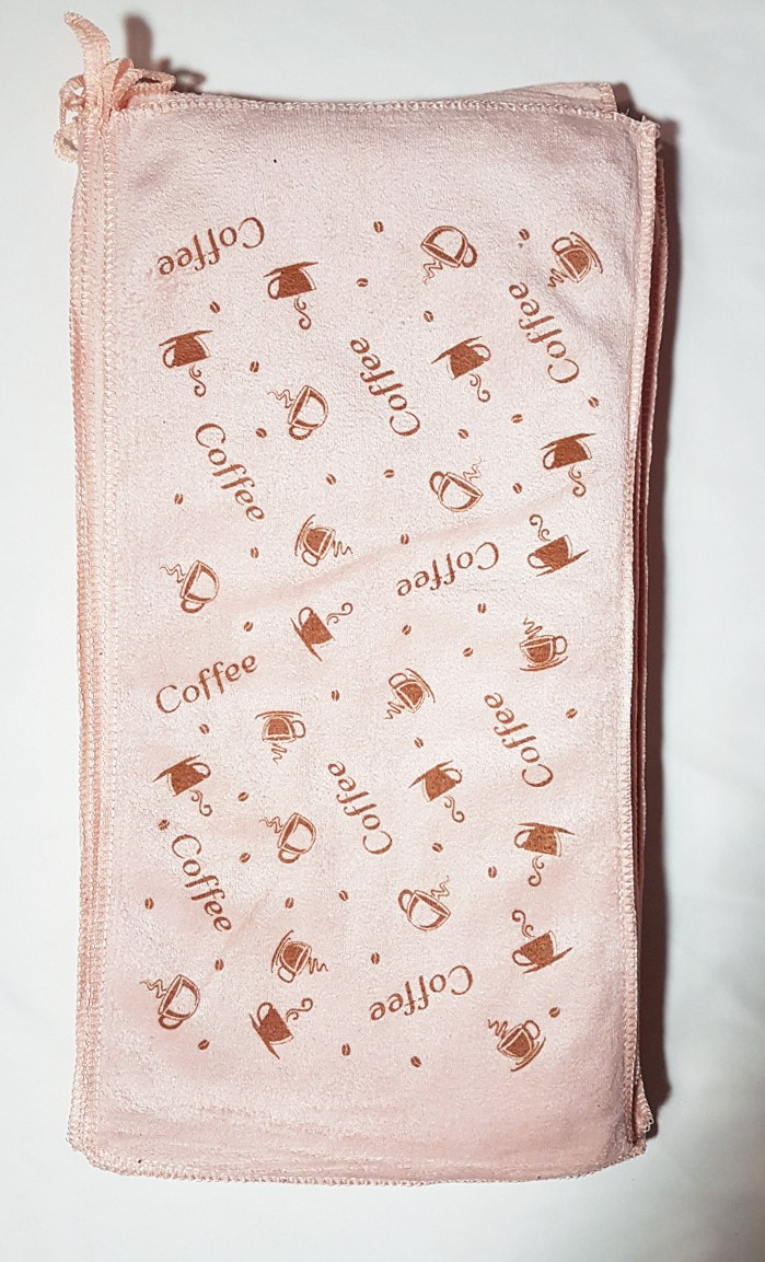 "Кухонное полотенце ""Чашка кофе"" микрофибра 25*48, цвет молочно-розовый"