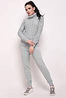 Вязаный светло-серый костюм свитер с горлом и штаны Хинза ТМ Ashra 42-48 размеры