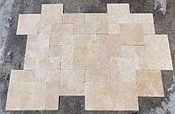 Брусчатка из натурального травертина, травертиновое мощение, на дорожки French Patter плитка толщина 32 мм.
