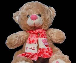 Плюшева іграшка в милому шарфі Ведмедик 68 см подарунок коханій дівчині