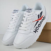 Мужские кроссовки Reebok Classic белые. Живое фото. Реплика a3a95789c6656