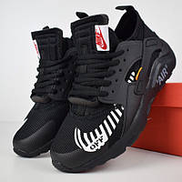 Мужские кроссовки Nike Air Huarache x OFF White черный. Живое фото (Реплика  ААА+ c36191619d496