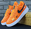 Мужские кроссовки Nike Air Force 1 Low Just Do It Pack Orange. Живое фото (Реплика ААА+)
