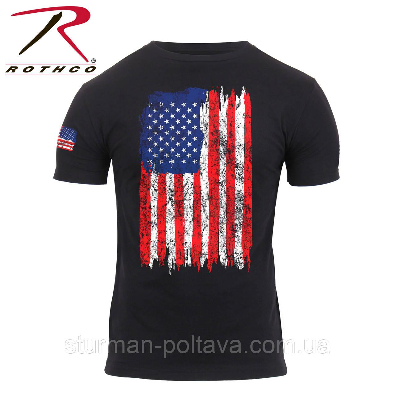 Футболка мужская  патриотическая  винтажная  Rothco Distressed US Flag Athletic Fit T-Shirt USA