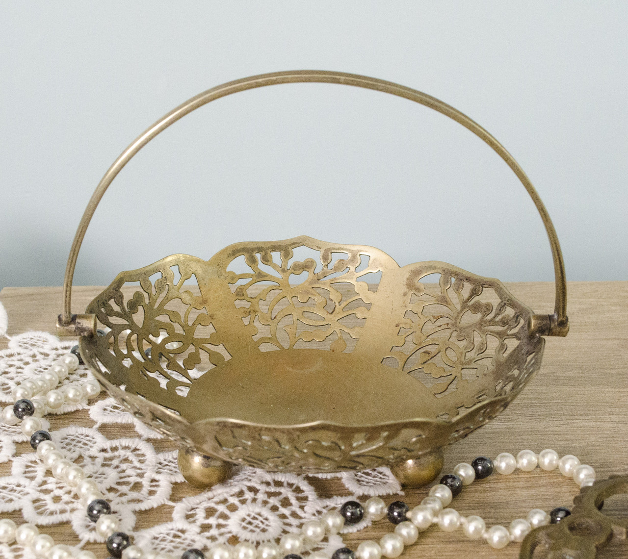 Ажурная бронзовая ваза для конфет, конфетница, бронза, Англия