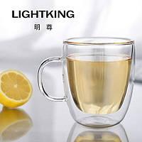 Двухслойная термостойкая стеклянная чашка  ручной работы 350 мл