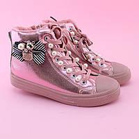 Детские демисезонные высокие кеды ботинки весна осень розовые тм JG размер 33,34