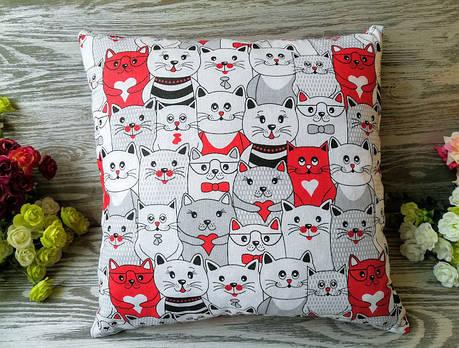 Подушка красные кошки , 35 см * 35 см, фото 2