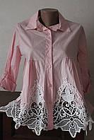Блуза женская с кружевом снизу