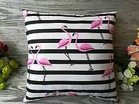Подушка фламинго на полосатом фоне двухсторонняя , 34 см * 34 см