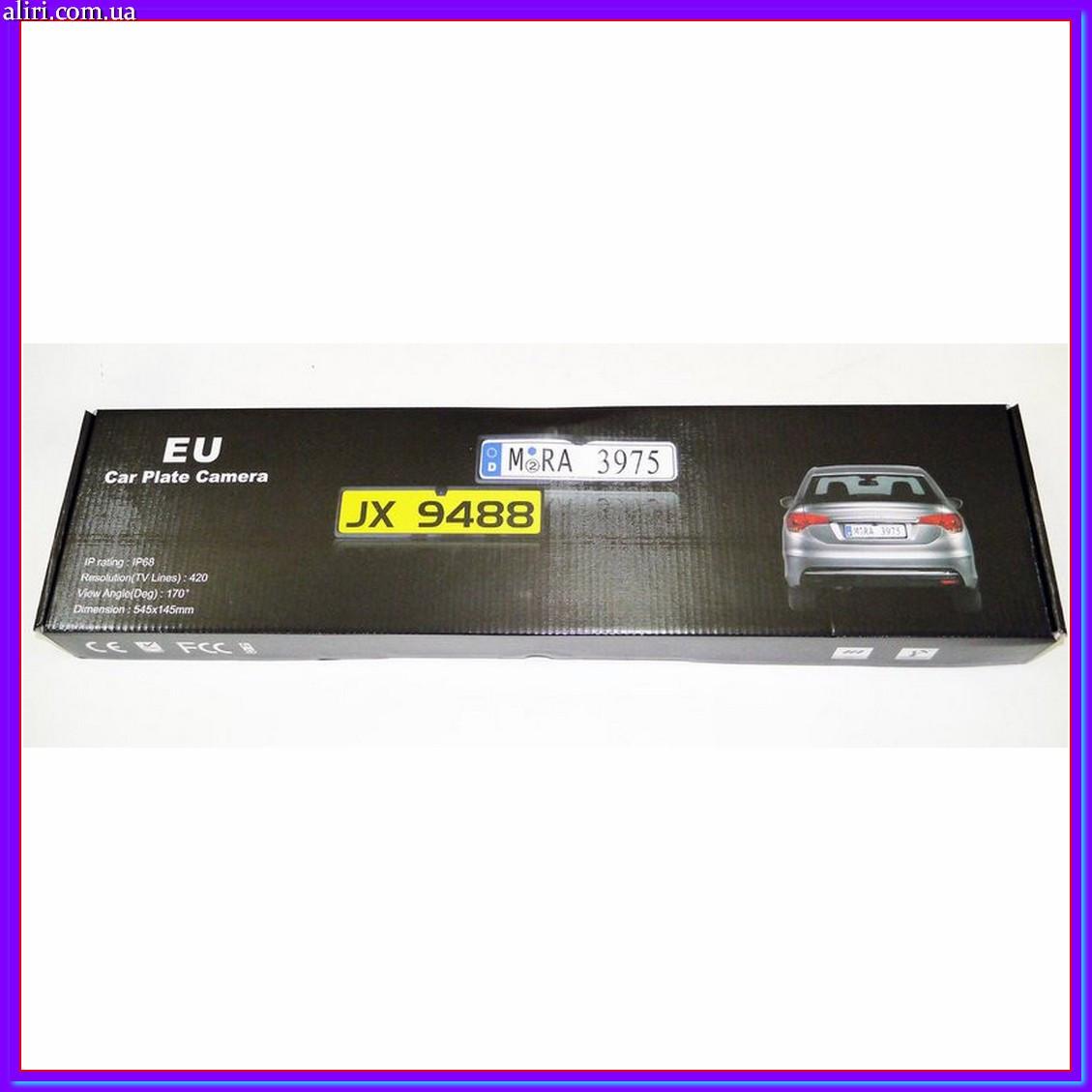 Камера заднего вида в рамке автомобильного номера с LED подсветкой Черная, фото 1