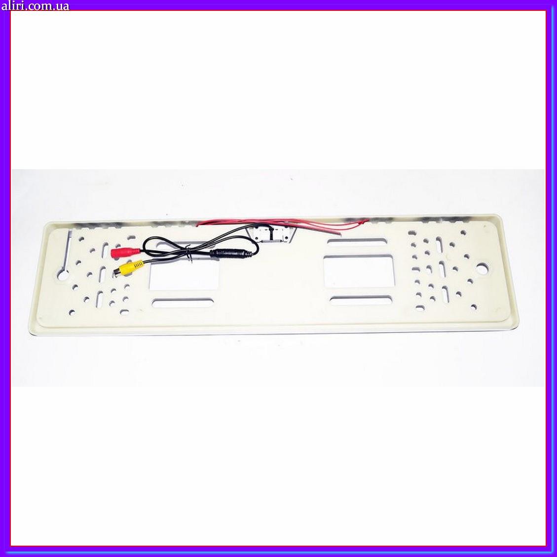 Камера заднего вида в рамке автомобильного номера с LED подсветкой Серая