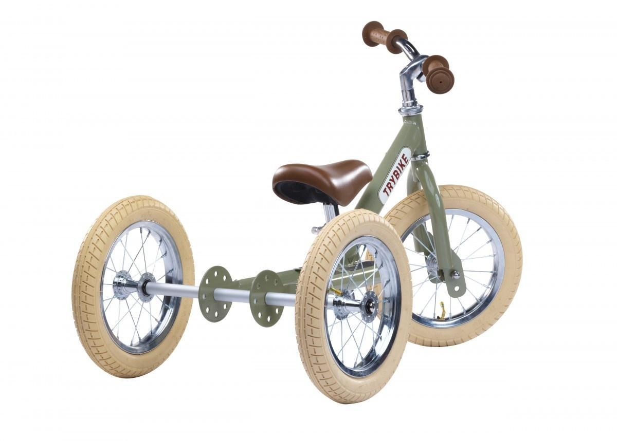 TRYBIKE - Балансирующий велосипед 2в1, цвет оливковый