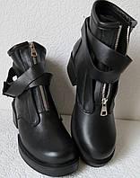 Balenciaga!! Ботинки кожа! Женские с ремешками сверху,  на змейке в стиле Баленсиага., фото 1