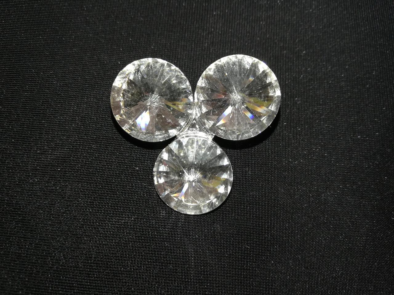 "Брошь булавка ""3 белых камня"" цвет метала ""серебро"" L-3,5см"