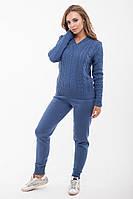 Вязаный женский костюм свитер и штаны Мыс 2 джинс ТМ Ashra 42-48 размеры