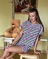 Хлопковая женская пижама. Комплект для сна и дома. Комплект женский