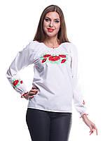 """Сорочка вышиванка """"Маки"""" белая KRAYKA"""