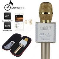 Портативный микрофон-караоке Q7, Bluetooth, MS + чехол, золотой