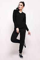 Женский вязаный черный костюм джемпер и штаны Мыс ТМ Ashra 42-48 размеры