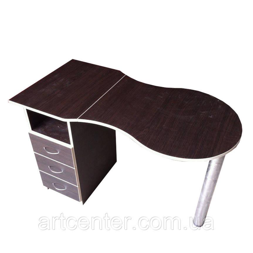 """Маникюрный стол  цвет """"венге"""" с выдвижными ящиками и складной столешницей"""