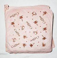 """Кухонная салфетка """"Чашка кофе"""" микрофибра 29*29, цвет: молочно-розовый"""