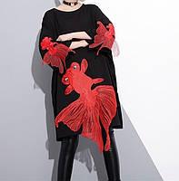 Красивое платье с вышивкой в виде рыбки, свободного кроя