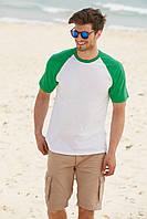 Мужская  футболка с цветными рукавами 61-026-0