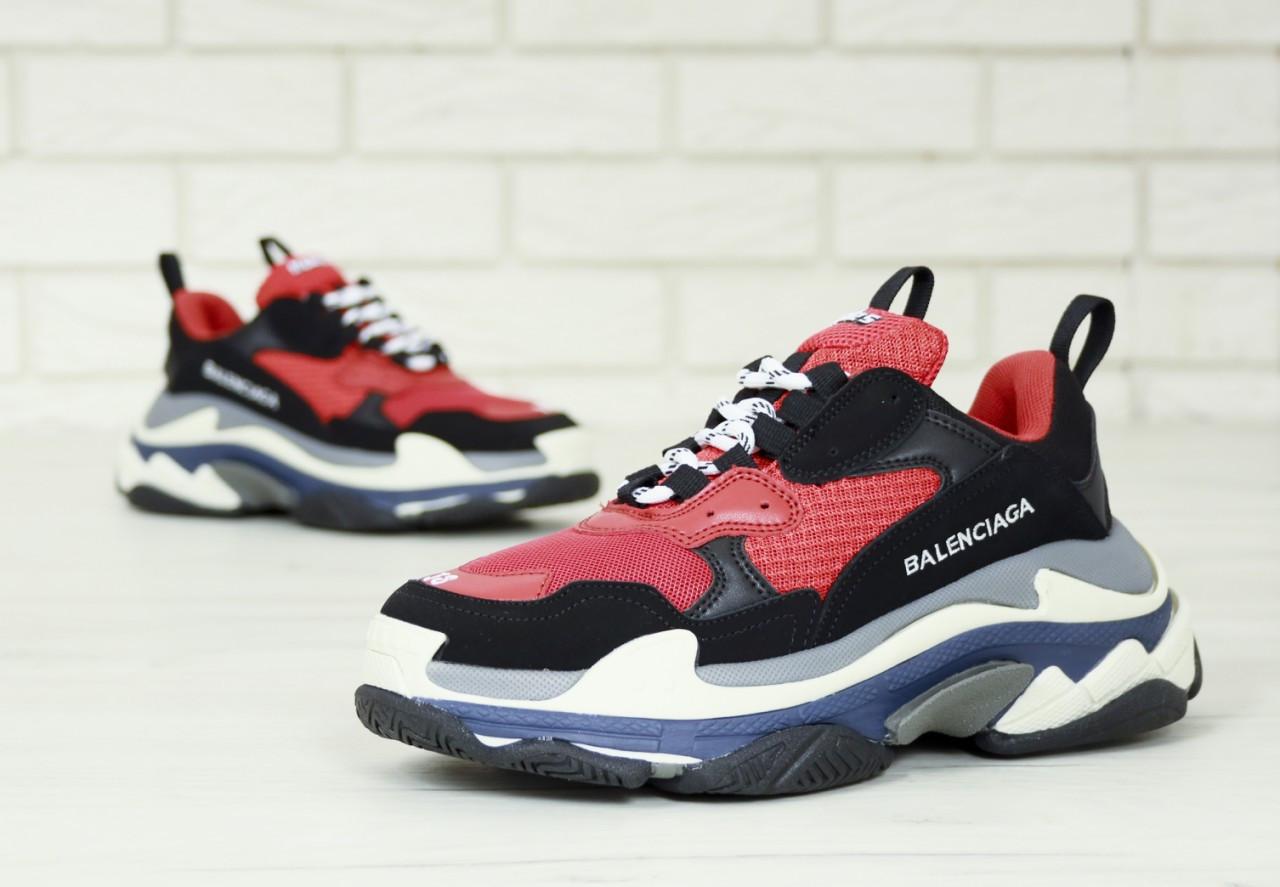"Мужские кроссовки Balenciaga Triple S ""Red/Black"". Кожа, текстиль"