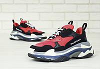 "Мужские кроссовки Balenciaga Triple S ""Red/Black"". Кожа, текстиль, фото 1"