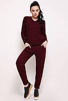 Вязаный бордовый костюм штаны и свитер с косами Мыс ТМ Ashra 42-48 размеры