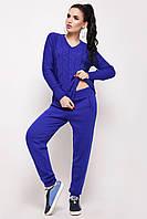 Женский вязаный костюм штаны и джемпер с косами Мыс электрик ТМ Ashra 42-48 размеры