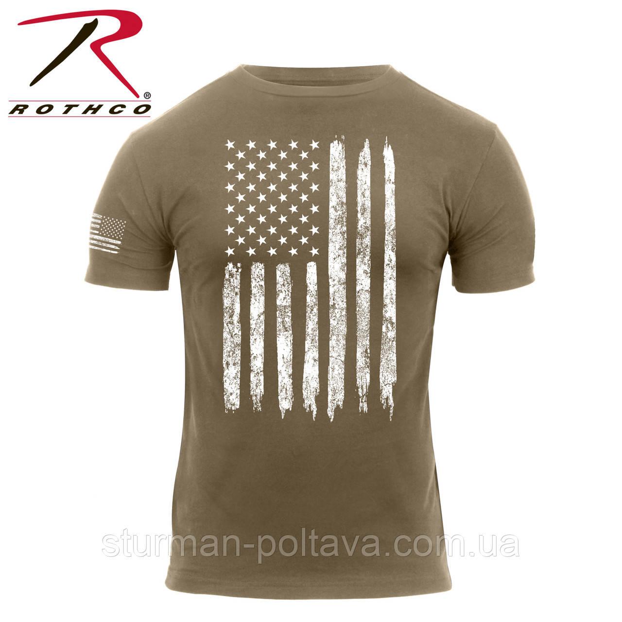c5db2a76087da Футболка Rothco с флагом США Distressed US Flag Athletic Fit T-Shirt Coyote  - Магазин