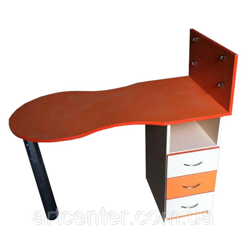 Маникюрный стол складной оранжевый с белым, однотумбовый