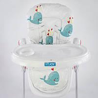 Детский стульчик для кормления на колесиках и регулируемой спинкой, (Синий кит)