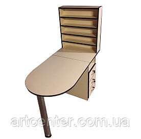 Стол маникюрный с большой полкой под лаки, складной столешницей и выдвижными ящиками